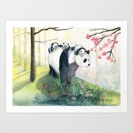 Panda family Art Print
