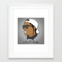 asap rocky Framed Art Prints featuring ASAP Rocky Illustration by Dailygray