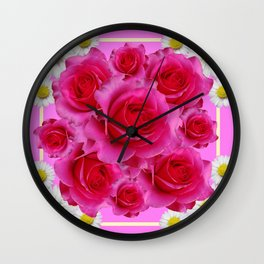 Purple Fuchsia Rose & Daisy  Flowers Art Design Abstract Wall Clock