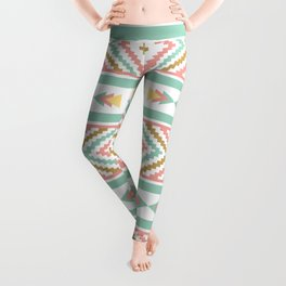 Abstract Tribal Native Geometric Pattern - Bohemian Festival Colorful Leggings