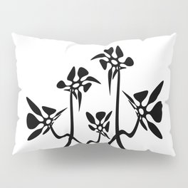 Five Abstract flowers black and white Pillow Sham