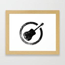 Acoustic Guitar Ink Stamp Framed Art Print