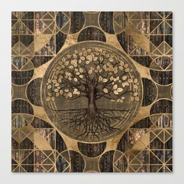 Tree of life - Yggdrasil - Wood and Gold Canvas Print