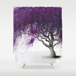 Violet Shadows Tree Shower Curtain