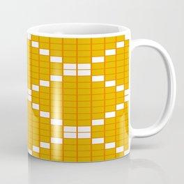Gold and Orange Grid Crosstile Coffee Mug