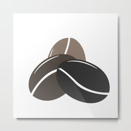 Simple icon with three coffee bean. Metal Print
