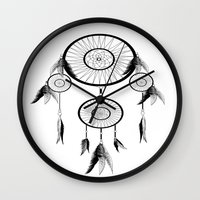 dream catcher Wall Clocks featuring DREAM CATCHER by shannon's art space