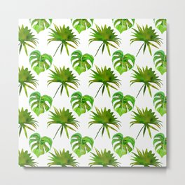 Tropical forest green white watercolor monster leaves Metal Print