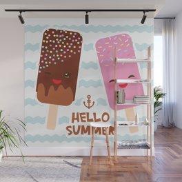 Hello Summer Kawaii ice cream, ice lolly Wall Mural