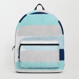 Stripes minimal painted stripe pattern blue indigo grey nautical nursery decor Backpack