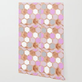 Bright sunrise rose gold geometric Wallpaper