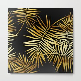 Tropical Palm Fronds Noir Metal Print