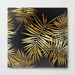 Tropical Palm Fronds Noir Metal Print