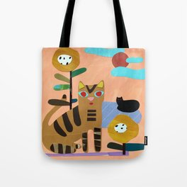 Cats on the Lawn Tote Bag