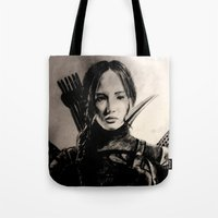 mockingjay Tote Bags featuring MOCKINGJAY by shochat