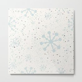 Cute Seamless Winter Pattern with subtle snowflakes Metal Print