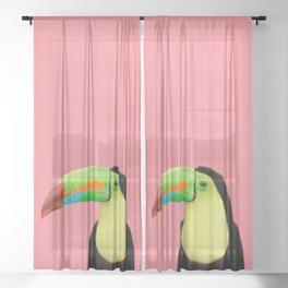 Toucan Bird - Pink Sheer Curtain
