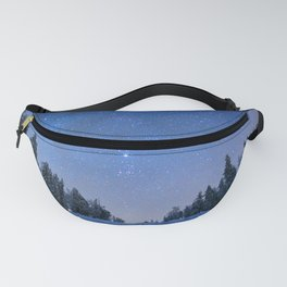 Blue Night Stars Wintry Forest Fanny Pack