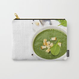 Traditional Spinach cream soup with croutons and fresh spinach leaf on top Carry-All Pouch