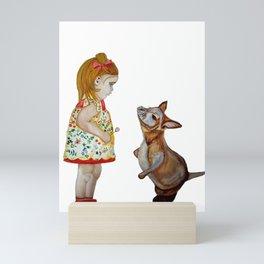 Child and Small Kangaroo (Watercolour) Mini Art Print