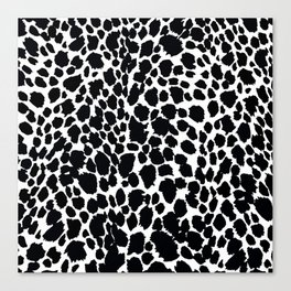 Animal Print Cheetah Black and White Pattern #4 Canvas Print