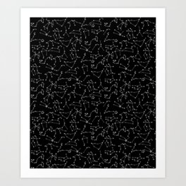 Zodiac Signs Constellations Glowing Stars | Space | Astrology | Cosmos Art Print
