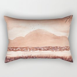 Monochromatic Landscape Painting Rectangular Pillow