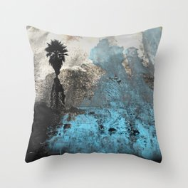 Palm View Grunge Throw Pillow