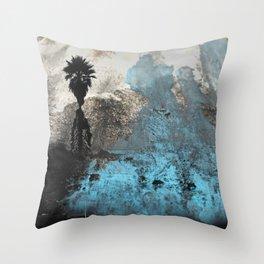 Palm View Grunge Throw Pillow