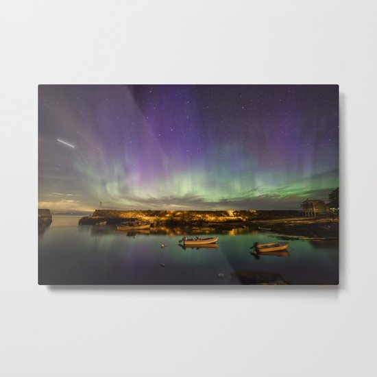 Aurora and the ISS Metal Print