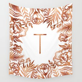 Letter T - Faux Rose Gold Glitter Flowers Wall Tapestry