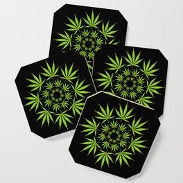Cannabis Leaf Circle (Black) Coaster
