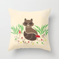 raccoon Throw Pillows featuring Raccoon by Lynette Sherrard Illustration and Design