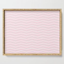 Light Soft Pastel Pink and White Chevron Serving Tray