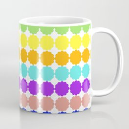 Stylized round multi-colored flowers (white background) Coffee Mug