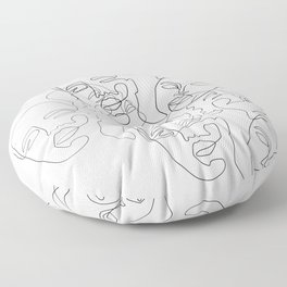 Lined Face Sketches Floor Pillow