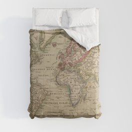 Vintage Map of The World (1814) Comforters