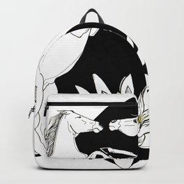Fighting horses - Ink artwork Backpack