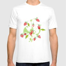 Patterned Strawberries Mens Fitted Tee MEDIUM White
