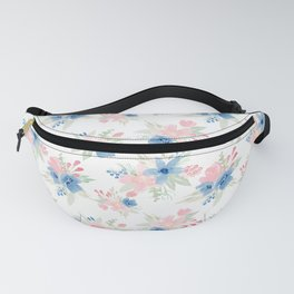 Blush Pink and Navy Watercolor Florals Fanny Pack