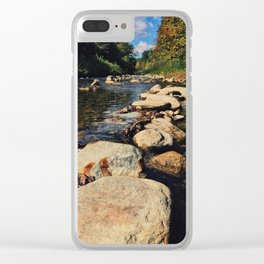 Rock path in the midlle of the river Clear iPhone Case