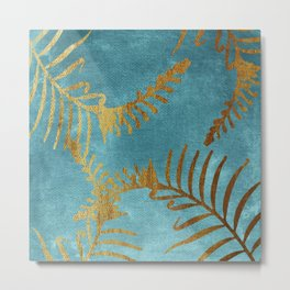 Golden cycas leaves on turquoise canvas Metal Print