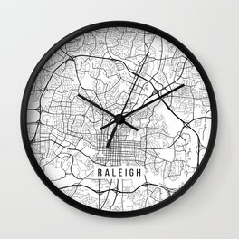 Raleigh Map, USA - Black and White Wall Clock