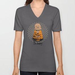 Be Happy Little Buddha Unisex V-Ausschnitt