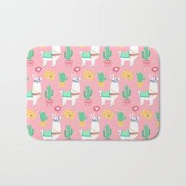 Cute Alpaca & Cactus Pattern Bath Mat