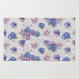 Hydrangeas and French Script with birds on gray background Rug