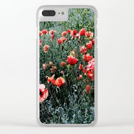 Poppies In A Field Clear iPhone Case
