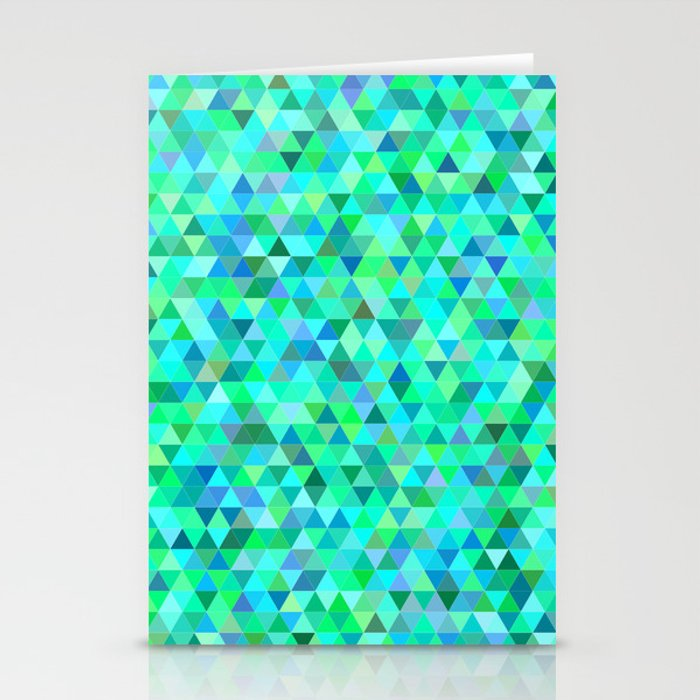Green blue triangle pattern Stationery Cards