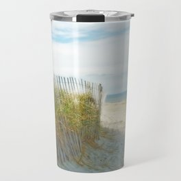 Sandy Beach, Ocean, and Dunes Travel Mug