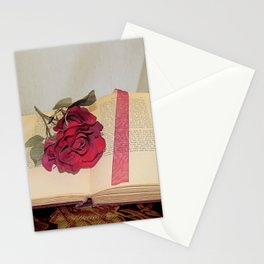 Red Rose on Open Book Library Art A224 Stationery Cards